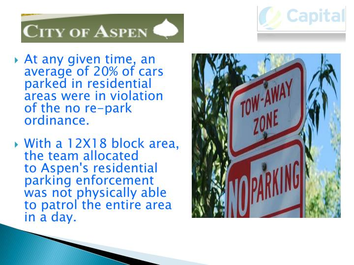 At any given time, an average of 20% of cars parked in residential areas were in violation of the no re-park ordinance.