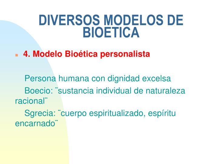 DIVERSOS MODELOS DE BIOETICA