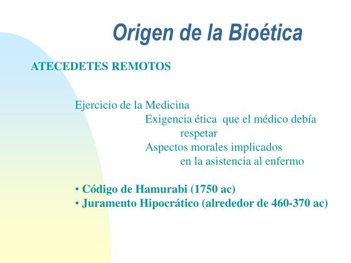 Origen de la Bioética