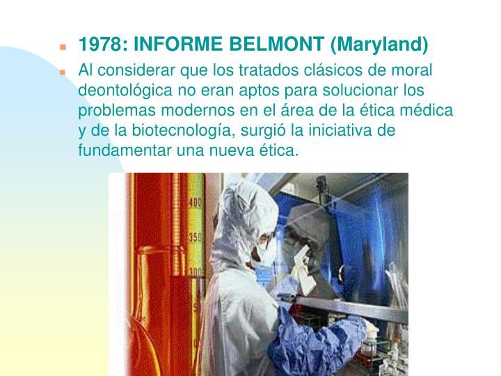 1978: INFORME BELMONT (Maryland)