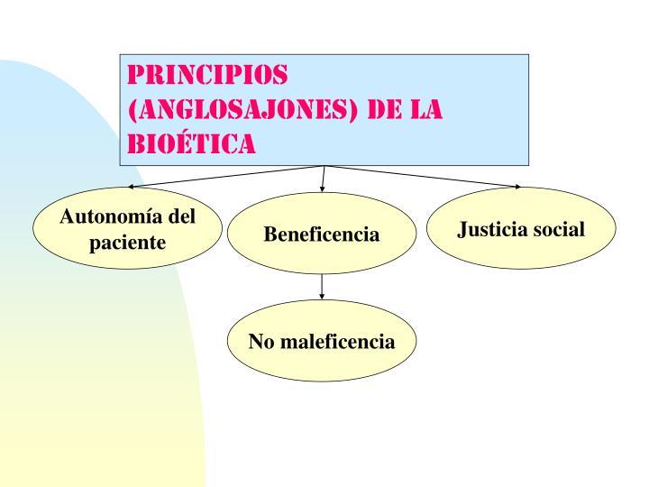 PRINCIPIOS (anglosajones) DE LA BIOÉTICA
