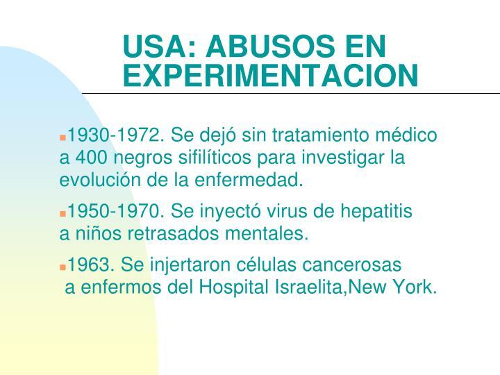 USA: ABUSOS EN EXPERIMENTACION