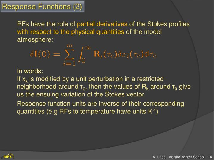 Response Functions (2)