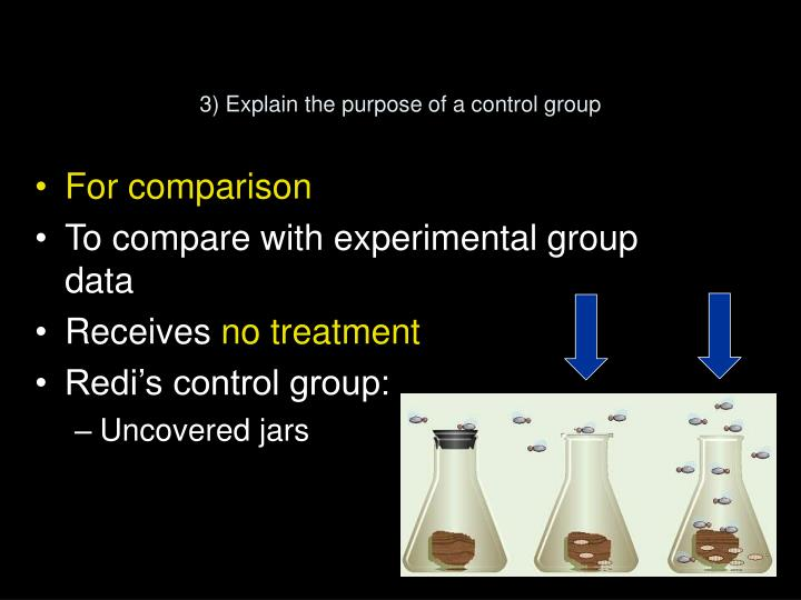 3) Explain the purpose of a control group