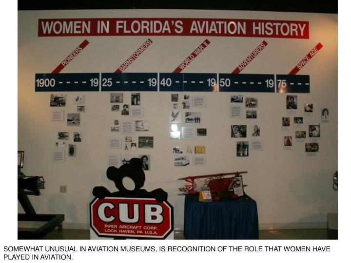 SOMEWHAT UNUSUAL IN AVIATION MUSEUMS, IS RECOGNITION OF THE ROLE THAT WOMEN HAVE PLAYED IN AVIATION.