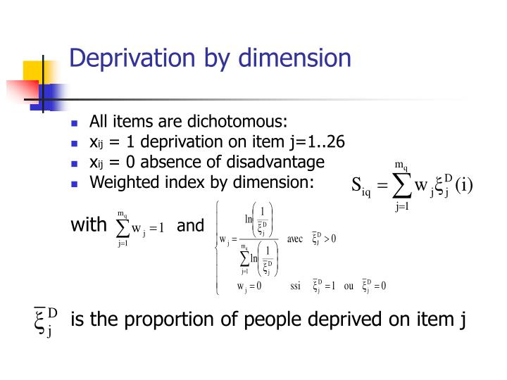 Deprivation by dimension