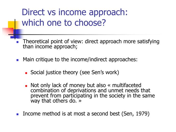 Direct vs income approach: