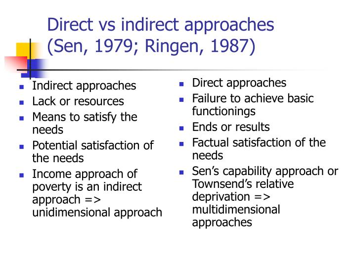 Direct vs indirect approaches sen 1979 ringen 1987
