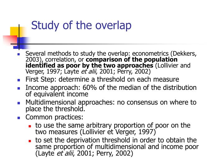 Study of the overlap