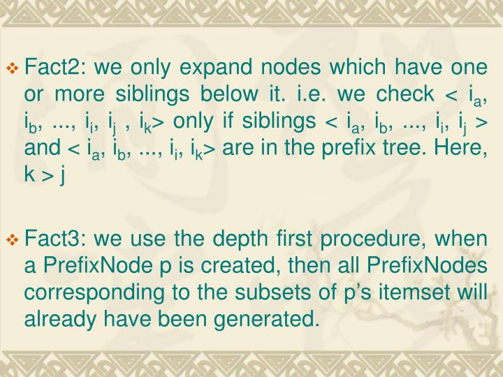 Fact2: we only expand nodes which have one or more siblings below it. i.e. we check < i