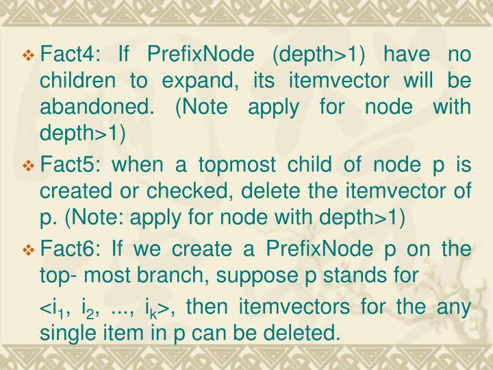 Fact4: If PrefixNode (depth>1) have no children to expand, its itemvector will be abandoned. (Note apply for node with depth>1)