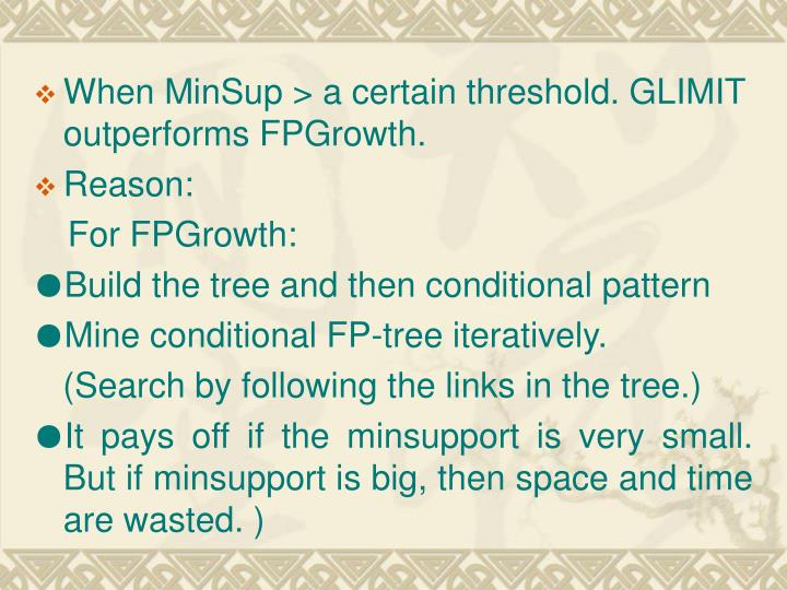 When MinSup > a certain threshold. GLIMIT outperforms FPGrowth.