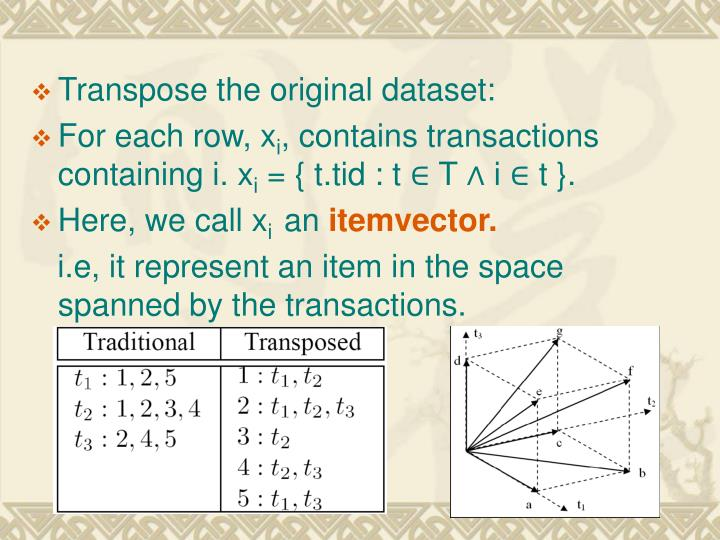 Transpose the original dataset: