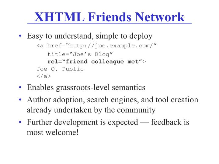 XHTML Friends Network