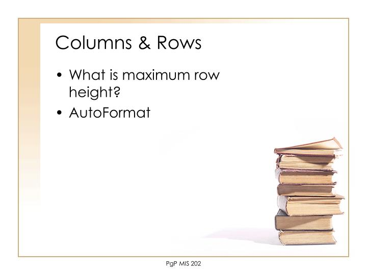 Columns & Rows