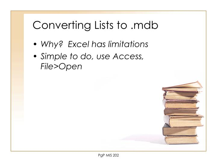 Converting Lists to .mdb