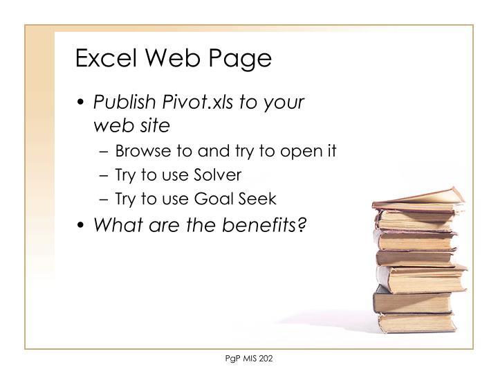 Excel Web Page