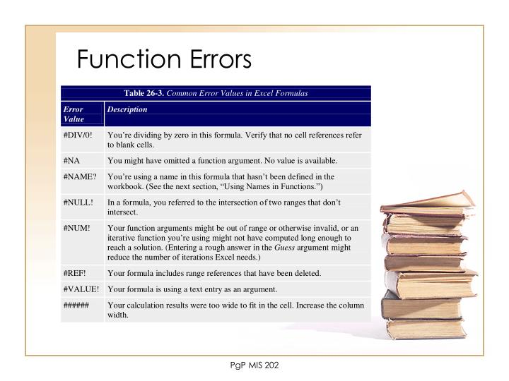 Function Errors