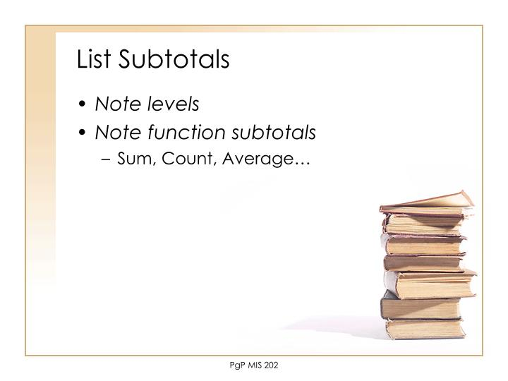 List Subtotals