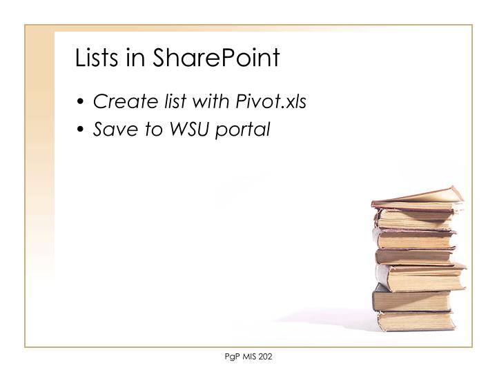 Lists in SharePoint