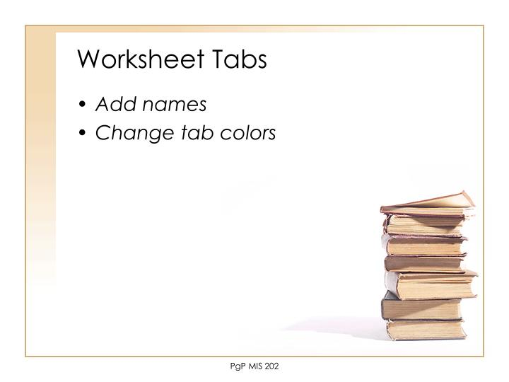 Worksheet Tabs