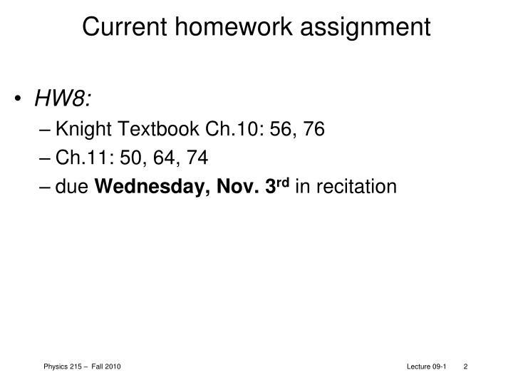 Current homework assignment