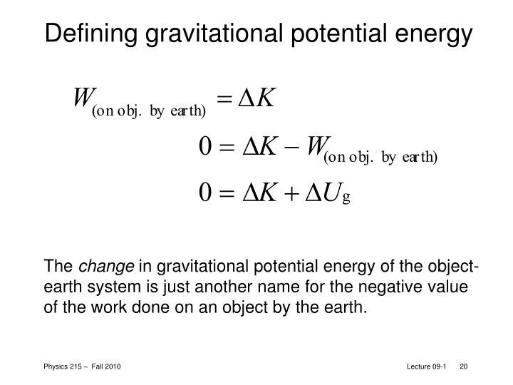 Defining gravitational potential energy