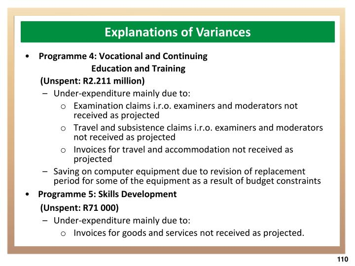 Explanations of Variances