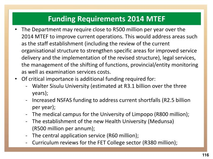 Funding Requirements 2014