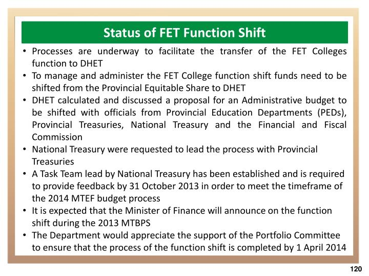 Status of FET Function Shift