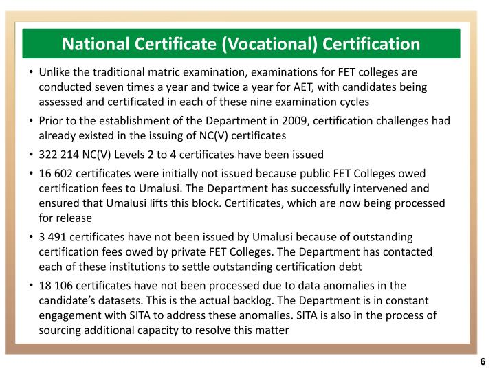 National Certificate (Vocational) Certification