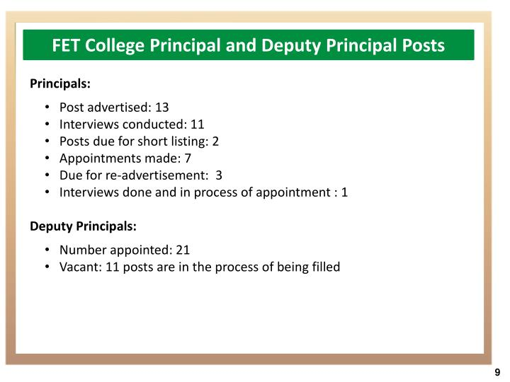 FET College Principal and Deputy Principal Posts