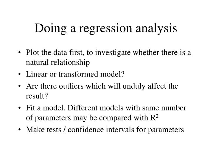 Doing a regression analysis