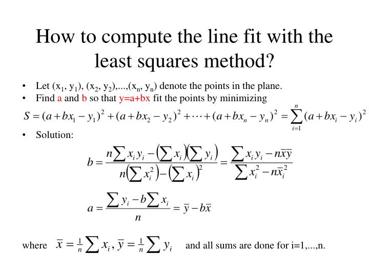 How to compute the line fit with the least squares method?