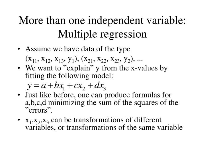 More than one independent variable: Multiple regression