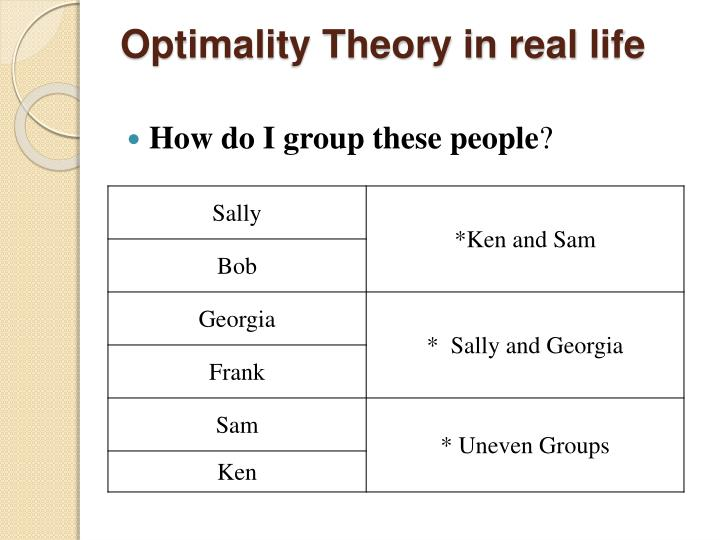 Optimality theory in real life