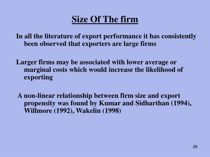 Size Of The firm