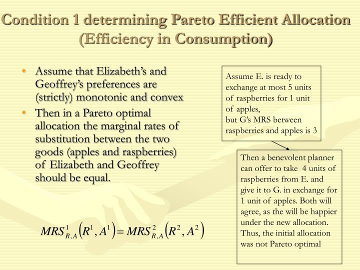Condition 1 determining Pareto Efficient Allocation (Efficiency in Consumption)