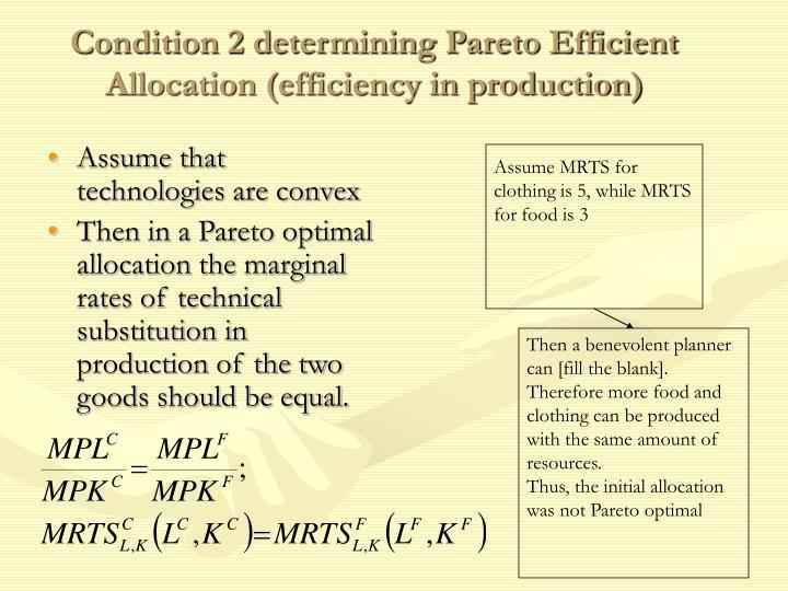 Condition 2 determining Pareto Efficient Allocation (efficiency in production)