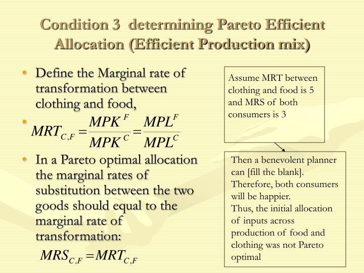 Condition 3  determining Pareto Efficient Allocation (Efficient Production mix)