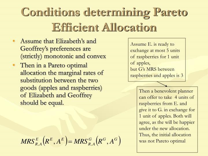 Conditions determining Pareto Efficient Allocation