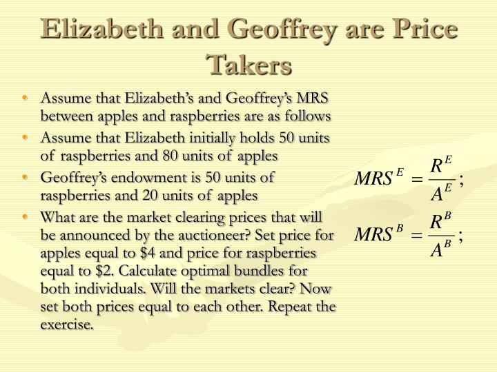 Elizabeth and Geoffrey are Price Takers