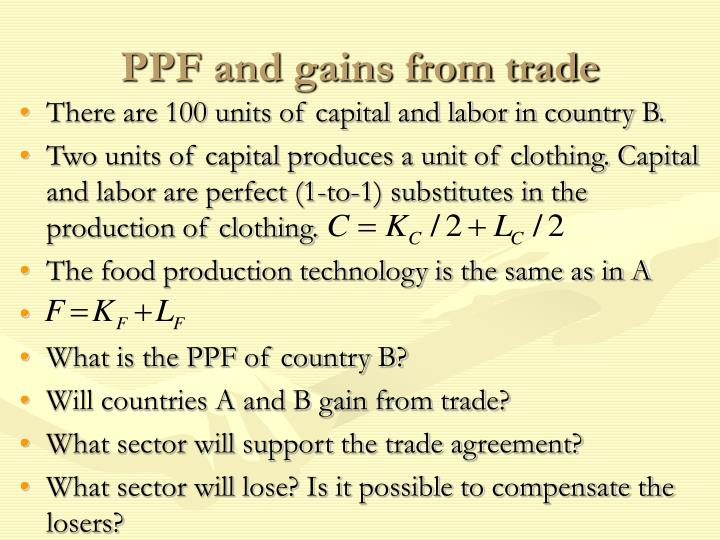 PPF and gains from trade