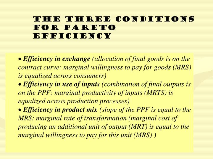 The three conditions for Pareto Efficiency