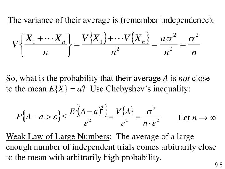 The variance of their average is (remember independence):