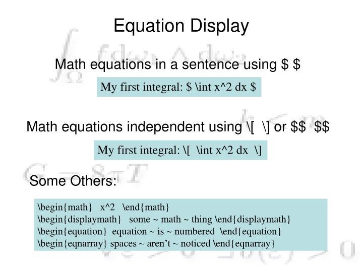 Equation Display