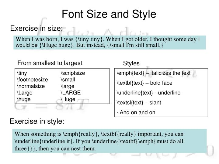 Font Size and Style