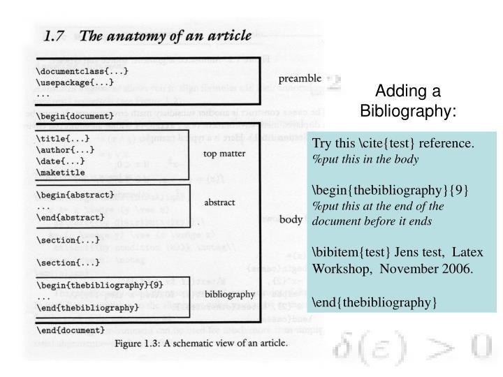 Adding a Bibliography: