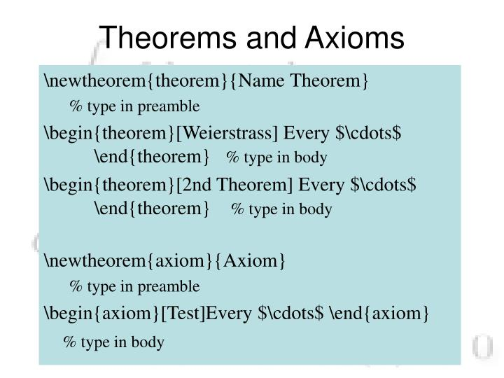 Theorems and Axioms