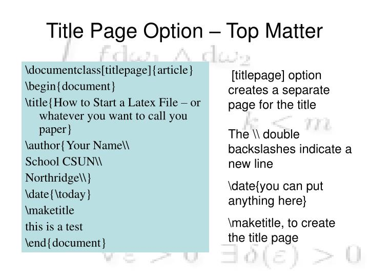 Title Page Option – Top Matter